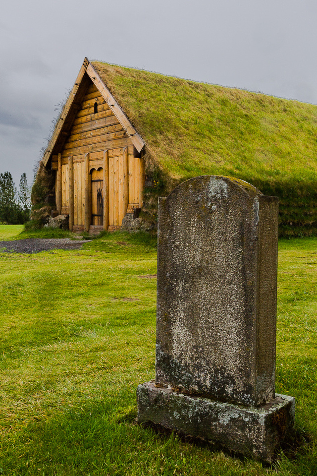 sod roof building at Skalholt (Skalholtskirkja) Church