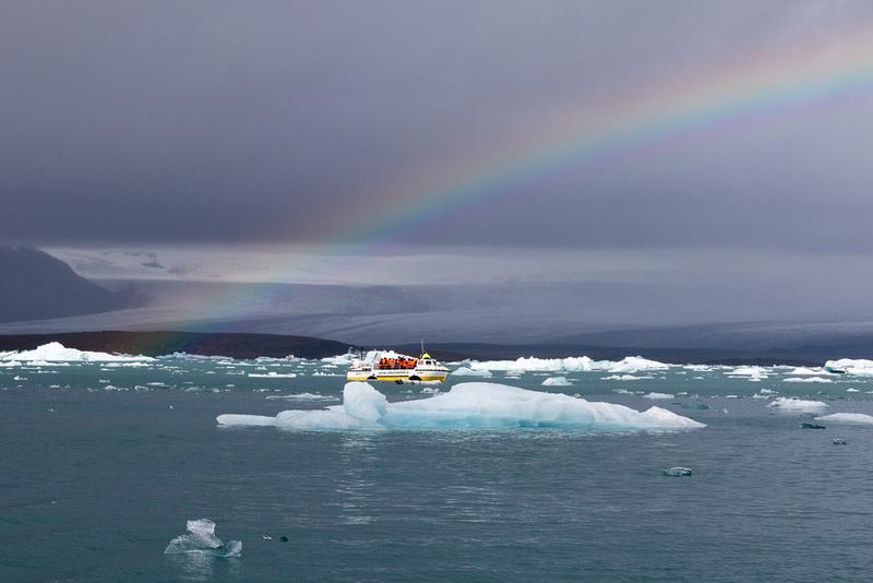 Rainbow, Iceberg in Jökulsárlón Iceberg Lagoon