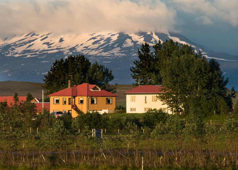 Mt Hekla with farm buildings