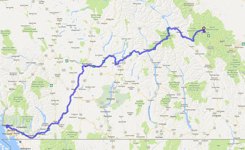 01 Map 9 - Vancouver to Lake Louise