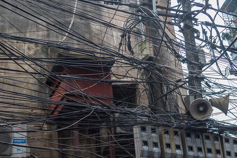 Utility wires, Phan Botchua St, Hanoi