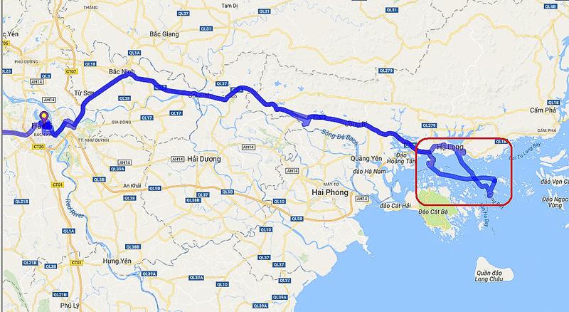 01 Map Hanoi to Ha Long