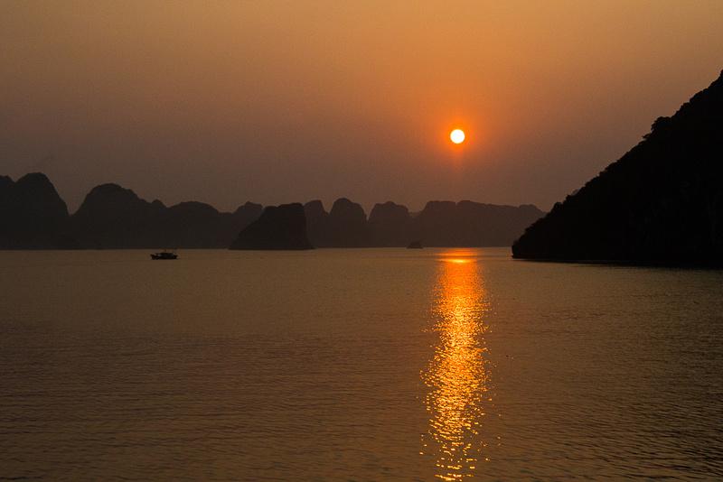 Smokey sunset on Ha Long Bay