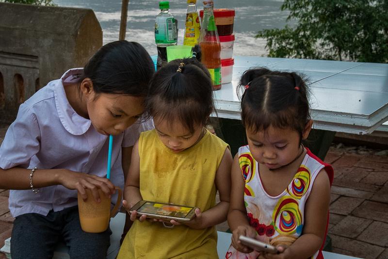 Three girls in Luang Prabang