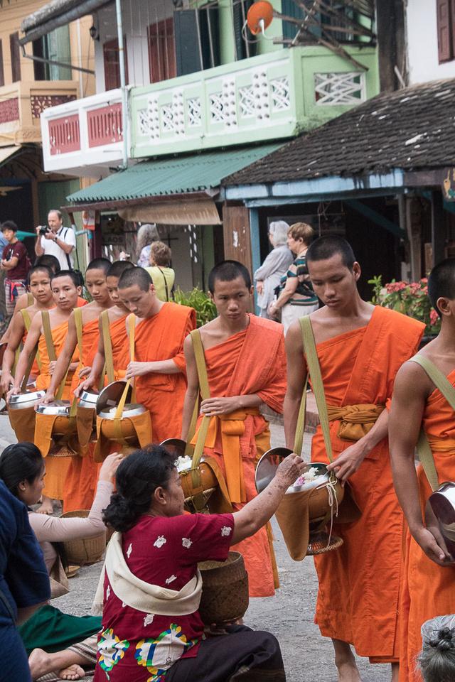 Monks receiving food #4, Luang Prabang