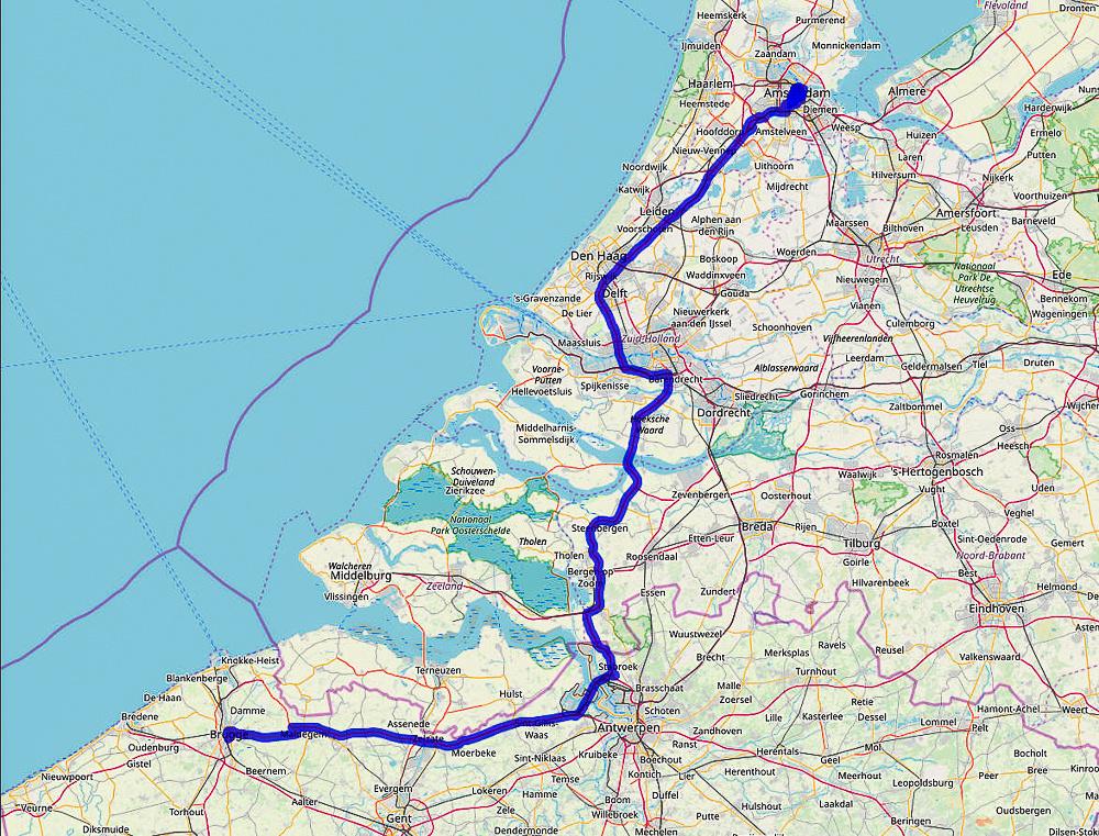02 Map Blog #7 Bruges to Amsterdam