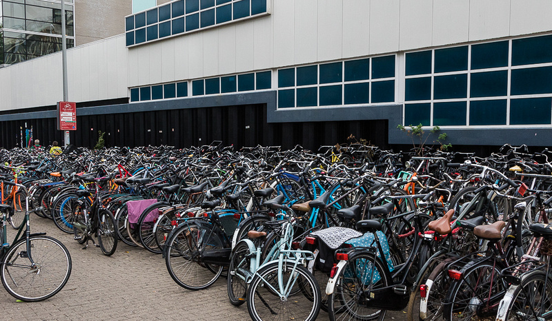 Amsterdam Bicycle Parking lot at Train Station