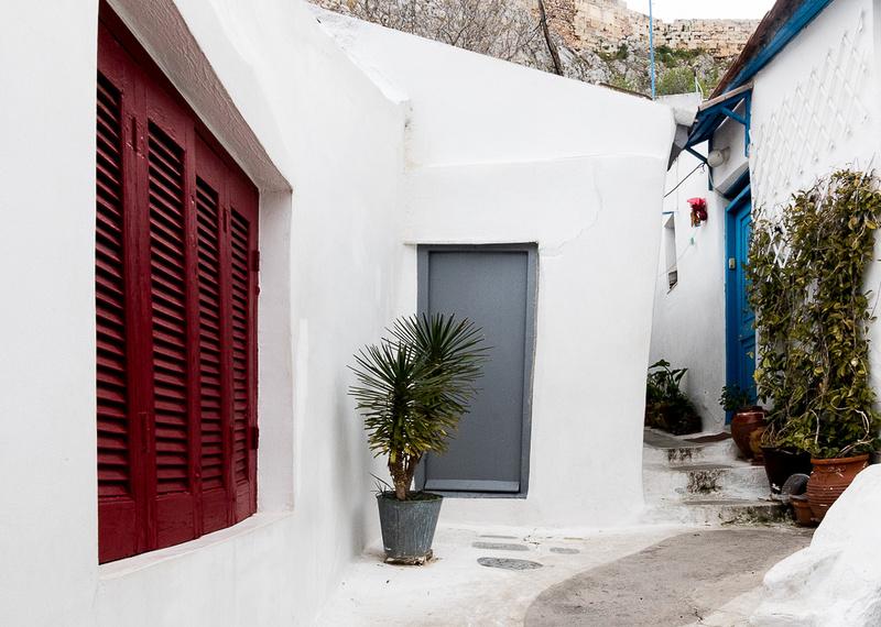 Red, Gray, Blue doors.  Anafiotika Area of Athens Greece