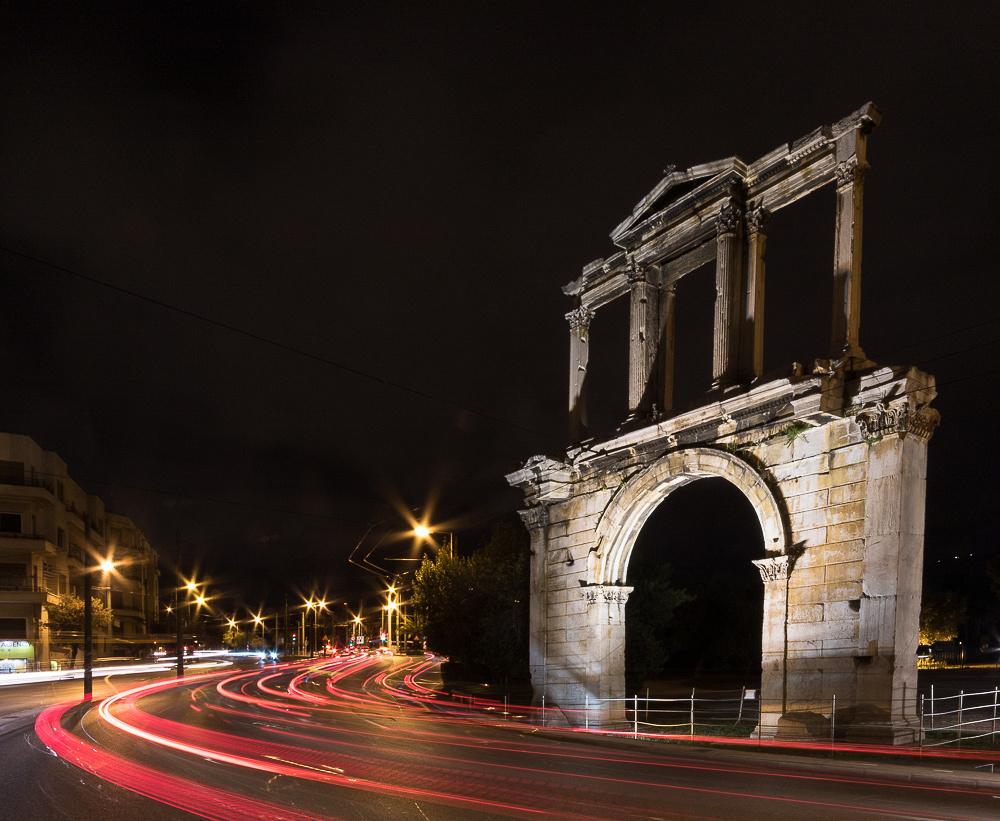 Hadrian's Gate at night