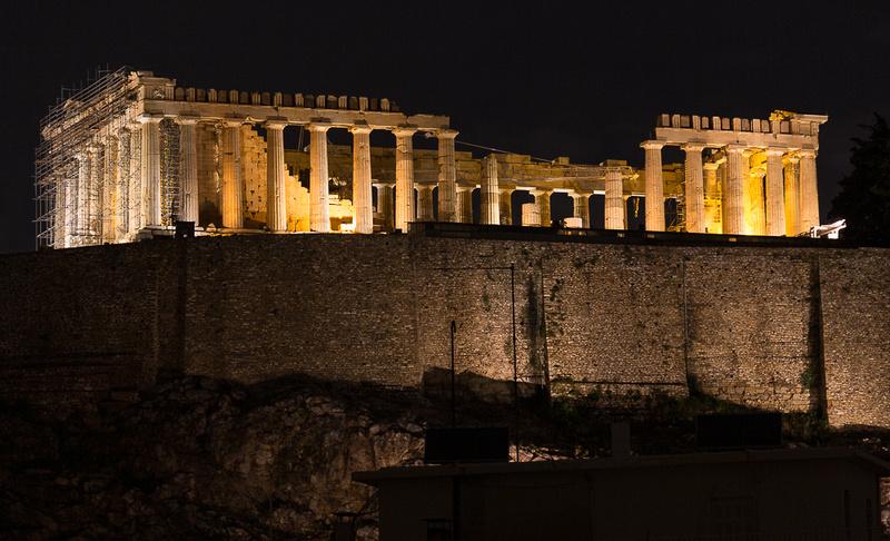 Parthenon at night from Divani Acropolis Hotel