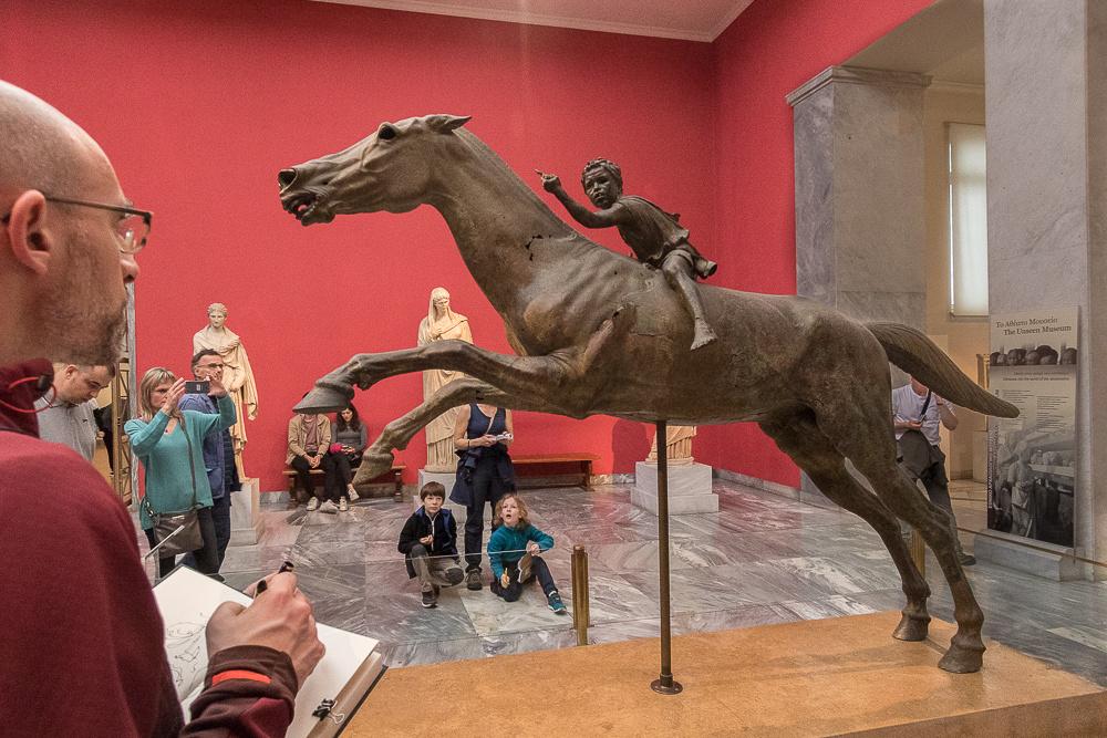 Bronze horse and child rider