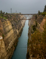 Corinth Canal on rainy day