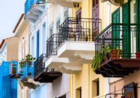 Boumpoulinas St, balconies, Nafplion, Greece