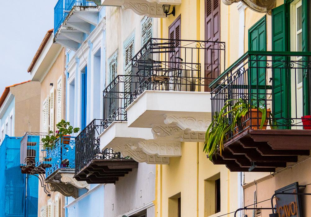 Boumpoulinas St, balconies, Nafplion, Greece