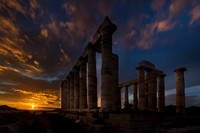 Temple of Poseidon with setting sun #1