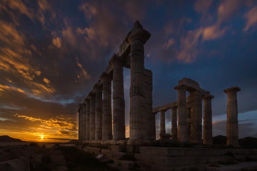 Temple of Poseidon with setting sun #1