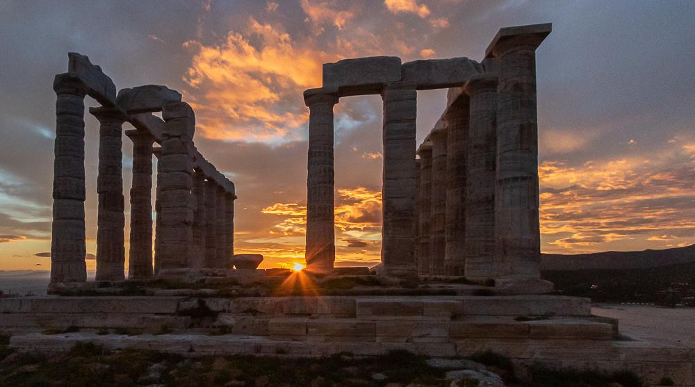 Temple of Poseidon with setting sun