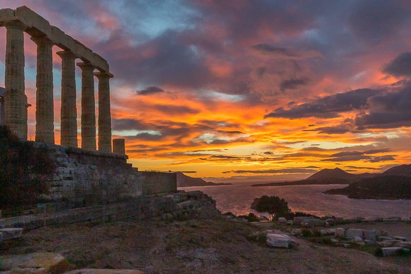 Temple of Poseidon Sunset