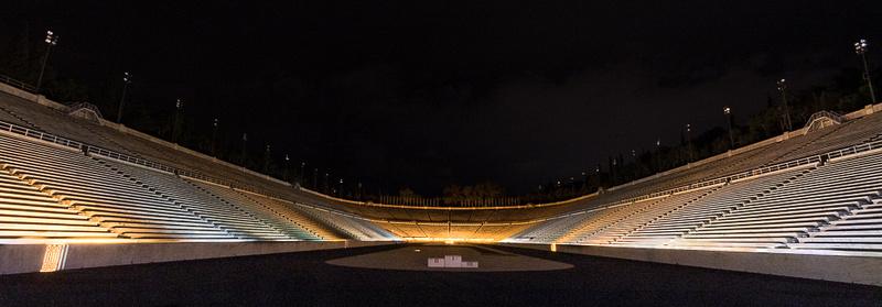 Panathinaikon Stadium at night, Athens, Greece