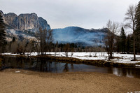 Yosemite Falls and Merced River with smoke
