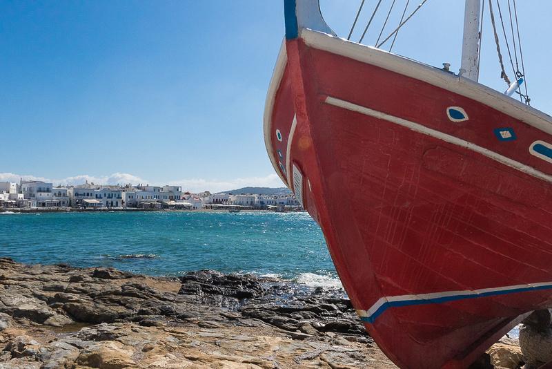 Red display boat, Mykonos Island