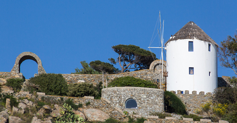 Mykanos windmill and arch