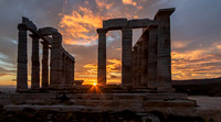 Temple of Poseidon with setting sun