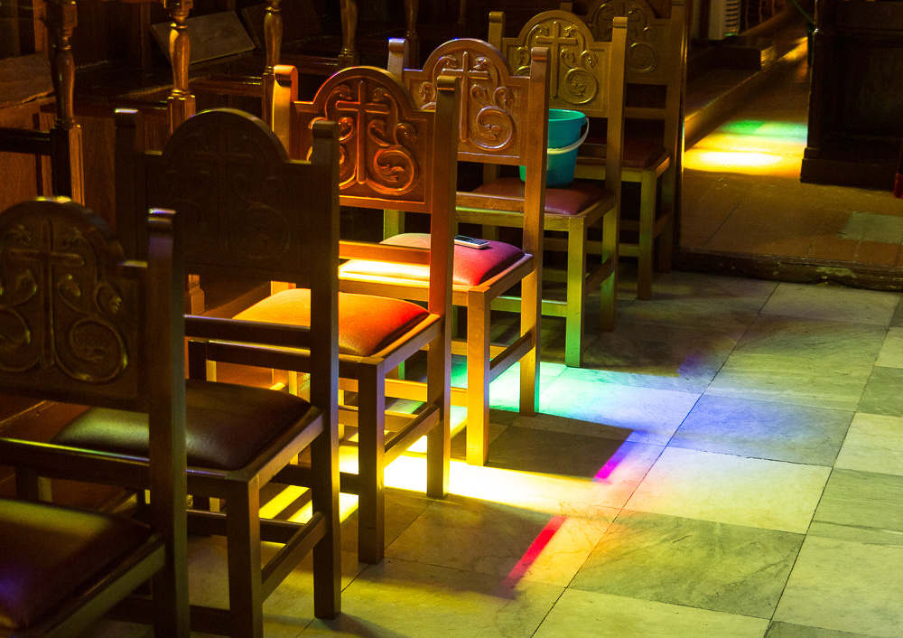 Stained glass colors on chairs Saint Nicholas Church, Ermoupoli