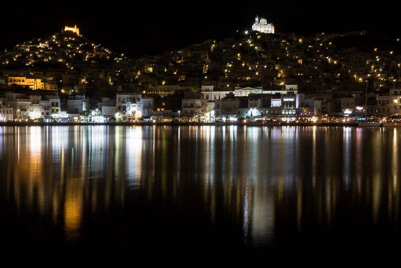 Ermoupoli waterfront at night #1