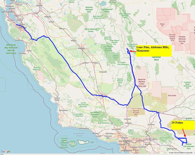 02 Map 1a Palo Alto to 29 Palms