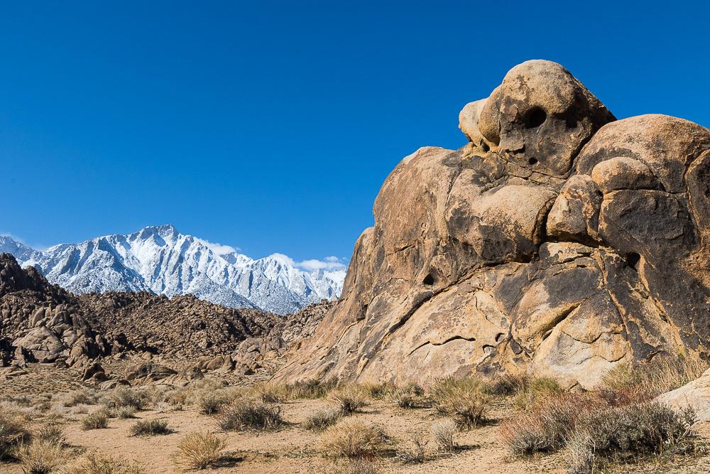 Alabama Hills rock formation and Eastern Sierra Nevada Mountain range #3
