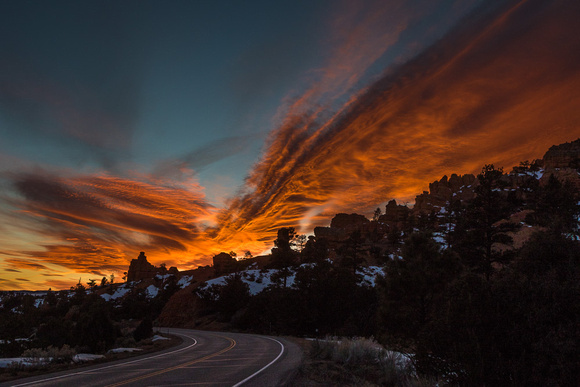 Flaming Sunset over Red Canyon SP, Utah #3