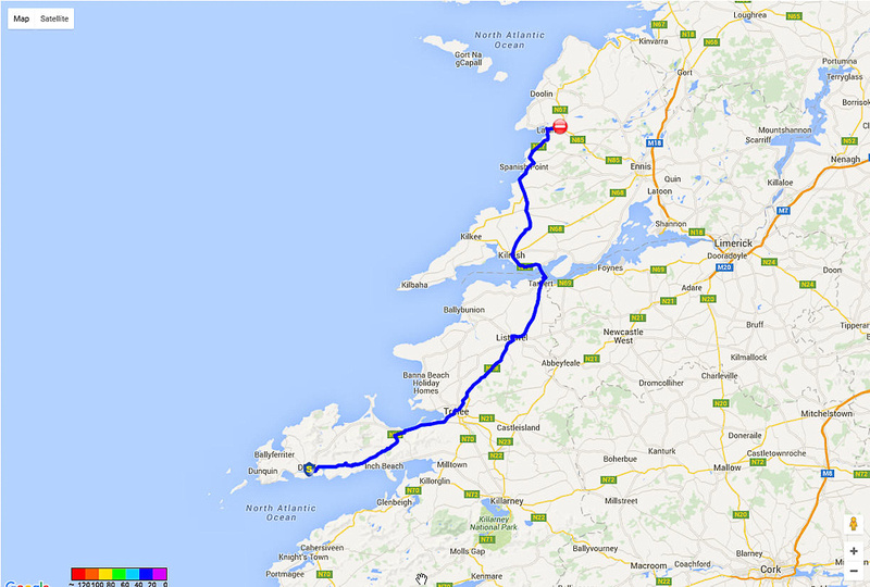 01 2016-06-12 Map Day 14 Dingle to Ennistimon