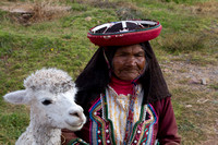Old woman and Alpaca