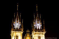 Our Lady before Tyn steeples by night