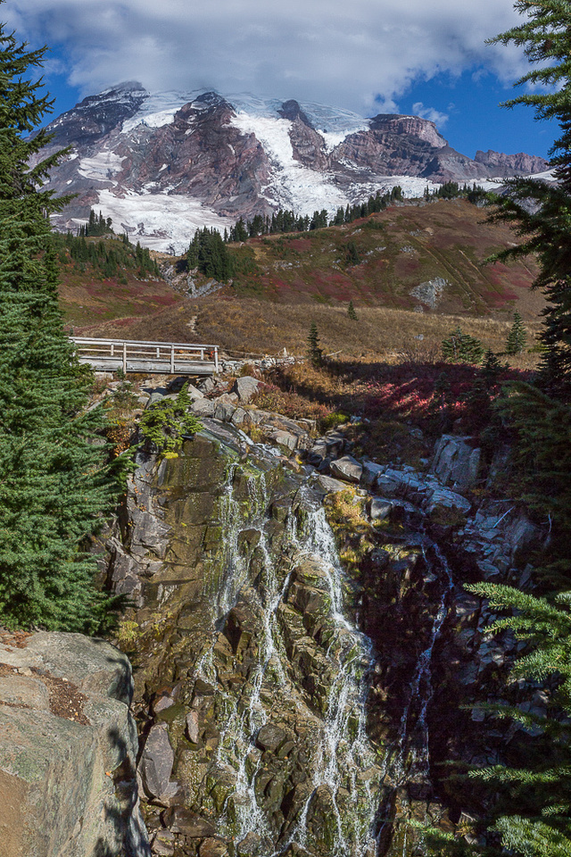 Mt. Rainier and Myrtle Falls
