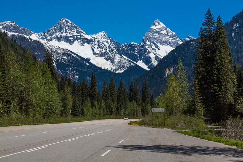 Highway and Peaks in Glacier NP, BC Canada