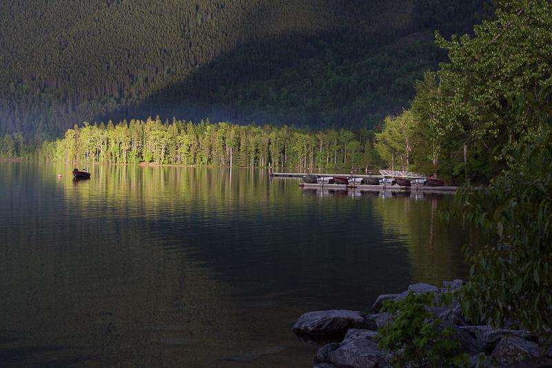 Last rays of sun on Lake McDonald