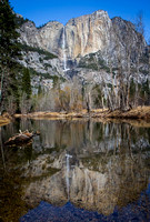 Upper Yosemite falls and reflection in Merced River