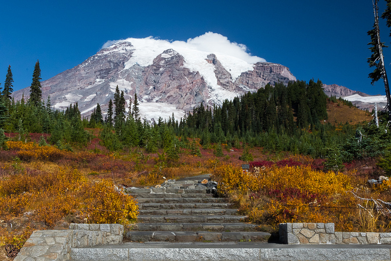 Mt. Rainier with fall color #4