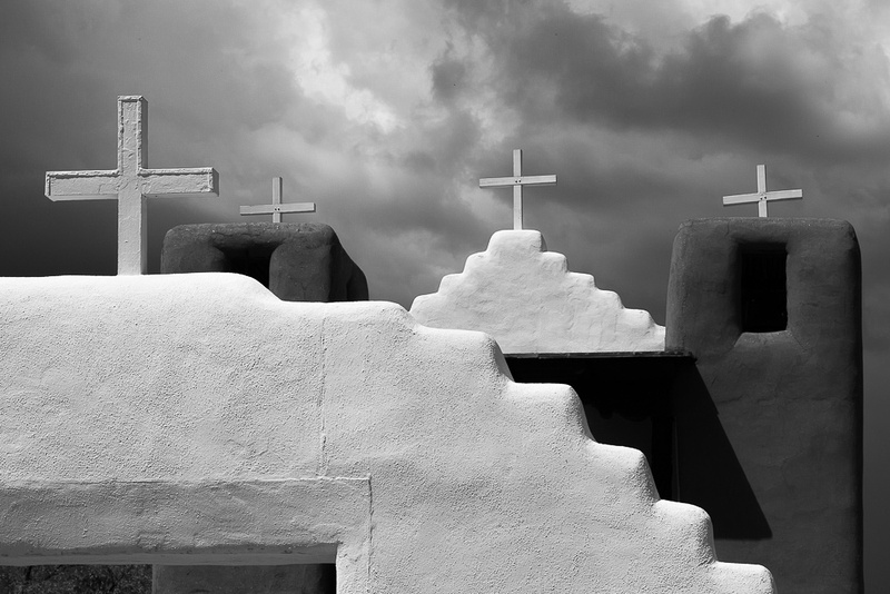 4 crosses over San Geronimo Chapel, Taos Pueblo, NM
